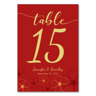 Red & Gold Cherry Blossoms Wedding Table Number Table Cards