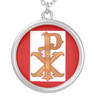 Red/Gold Chi Rho Pendant