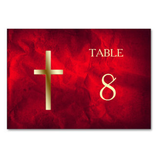 Red Gold Christian Cross Table Table Cards