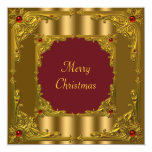 Red & Gold Christmas Holiday Cocktail Dinner 13 Cm X 13 Cm Square Invitation Card