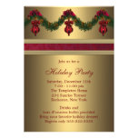 Red Gold Christmas Holiday Party Custom Invites