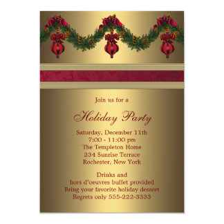 Red Gold Christmas Holiday Party 13 Cm X 18 Cm Invitation Card
