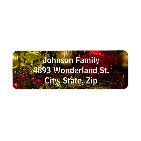 Red & Gold Christmas Ornaments Tree Address Labels