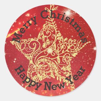 Red Gold Christmas Star Sticker