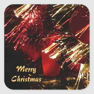 Red Gold Christmas Tree Square Sticker