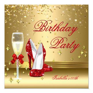 Red Gold Confetti Champagne Heels Birthday Party 2 13 Cm X 13 Cm Square Invitation Card