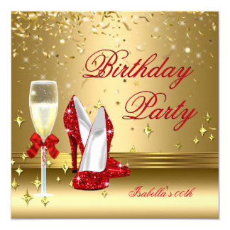 Red Gold Confetti Champagne Heels Birthday Party 2 Card