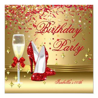 Red Gold Confetti Champagne Heels Birthday Party 13 Cm X 13 Cm Square Invitation Card