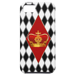 Red gold Crown & black and white Diamonds Tough iPhone 5 Case