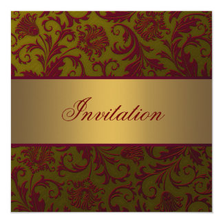 Red Gold Damask All Occasion Invitation Template