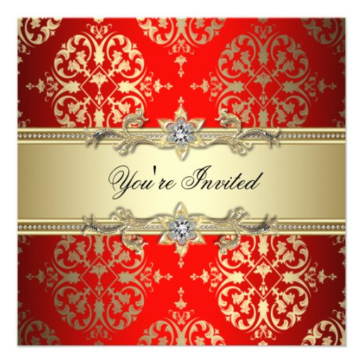 Red Gold Damask Party Personalized Invite