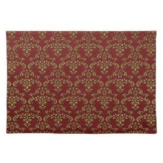 Red & Gold Damask Pattern Place Mats