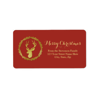 Red Gold Deer Wreath Christmas Address Label