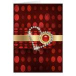 red gold diamonds romantic valentines greeting card