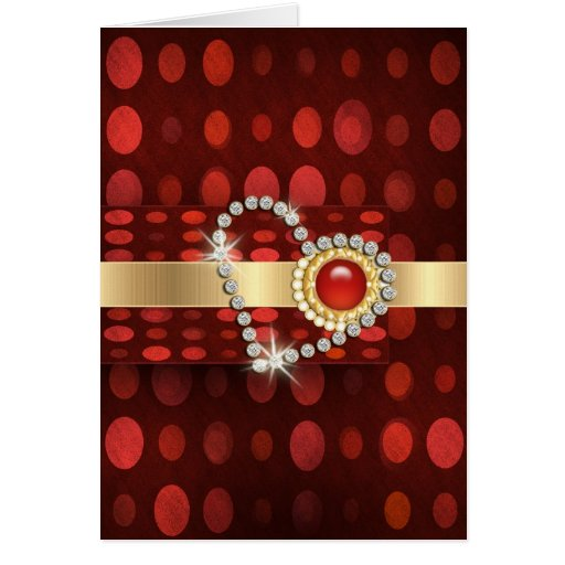 red gold diamonds romantic valentines greeting cards