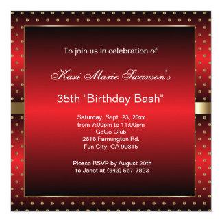 Red & Gold Dot Party Celebration | DIY Text 13 Cm X 13 Cm Square Invitation Card