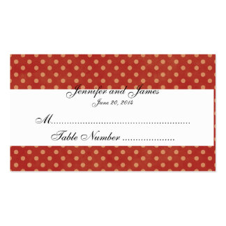 Red Gold Dots December Wedding Place Card Double-Sided Standard Business Cards (Pack Of 100)