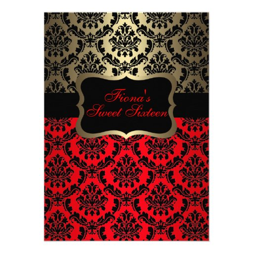 Red & Gold Elegant Damask Birthday Invite