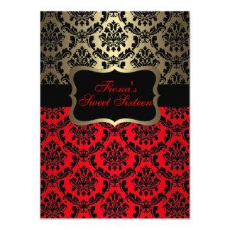 "Red & Gold Elegant Damask Birthday Invite 4.5"" X 6.25"" Invitation Card"