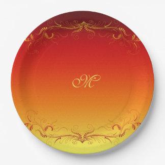 Red Gold Elegant Vintage Custom Monogram 9 Inch Paper Plate