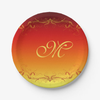 Red Gold Elegant Vintage Custom Monogram 7 Inch Paper Plate