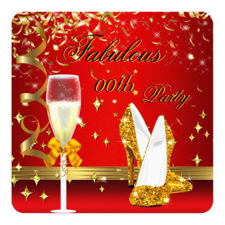 Red Gold Fabulous Champagne Heels Birthday 13 Cm X 13 Cm Square Invitation Card