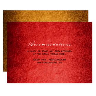 Red Gold Fall Autumn Wedding Hotel Accomodation 9 Cm X 13 Cm Invitation Card