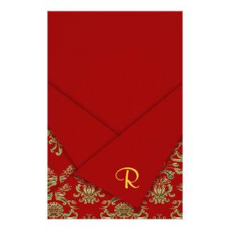Red & Gold Fancy Folded Baroque Wedding Customized Stationery