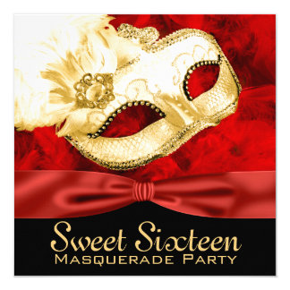 Red Gold Feather Sweet 16 Masquerade Party Card