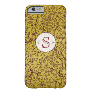 Red Gold Floral Art Custom Monogram iPhone 6 Case Barely There iPhone 6 Case