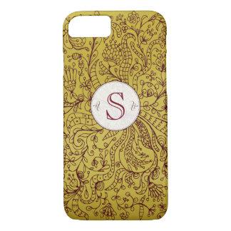 Red Gold Floral Art Custom Monogram iPhone 7 Case