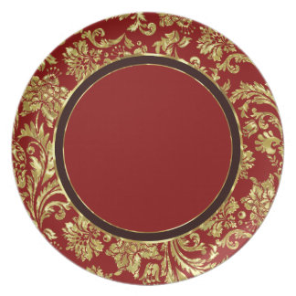 Red & Gold Floral Damasks 3 Customized Dinner Plates