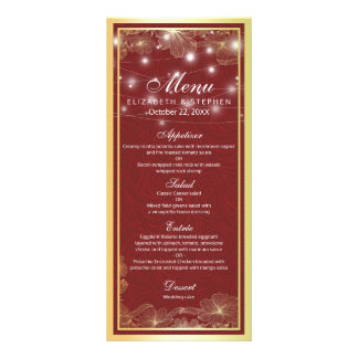 Red & Gold Floral Frame String Lights Wedding Menu