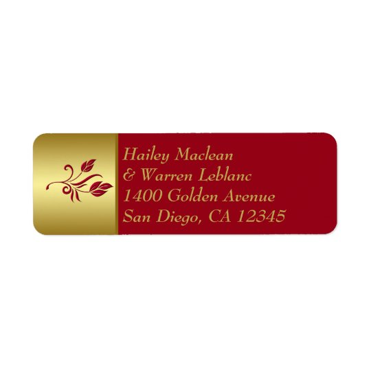 Red, Gold Floral Return Address Label