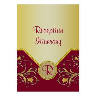 Red & Gold Flowering Vines Monogram Wedding Large Business Cards (Pack Of 100)