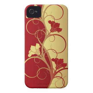Red/Gold Flowers Barely There iPhone 4 Case