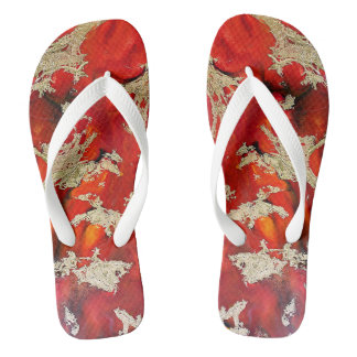 red gold for ladies flip flops