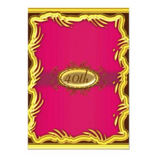 Red Gold Frame Birthday party Invitation