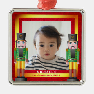 Red & Gold Frame & Nutcracker Baby's 1st Christmas Christmas Ornament