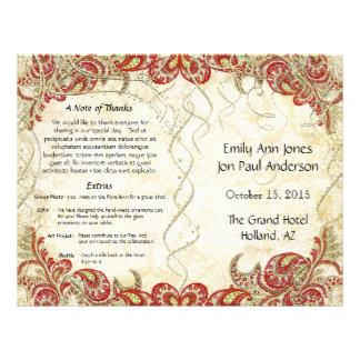 Red Gold Gatsby Paisley Peacock Wedding Program 21.5 Cm X 28 Cm Flyer