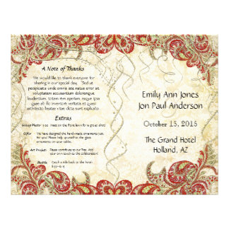 Red Gold Gatsby Paisley Peacock Wedding Program Flyer