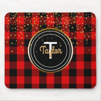 Red Gold Glam Confetti Dots Monogram Buffalo Plaid Mouse Mat