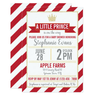 Red Gold Glitter Prince Baby Shower Invite