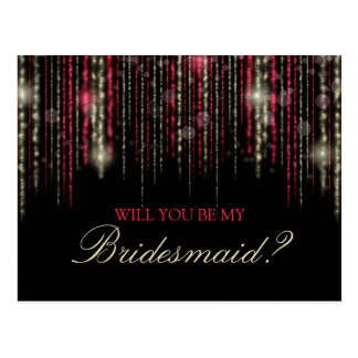 Red Gold Glitter Rain Will You Be My Bridesmaid Postcard