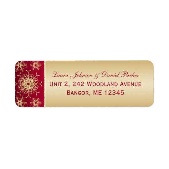 Red, Gold Glitter Snowflakes Return Address Label