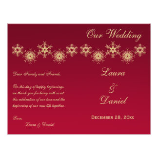 Red, Gold Glitter Snowflakes Wedding Program Flyers