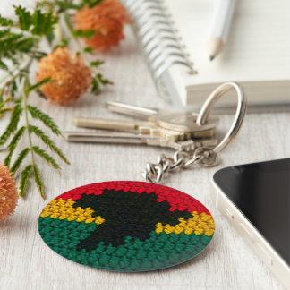 Red Gold Green Black Africa Map Crochet Print on Key Ring