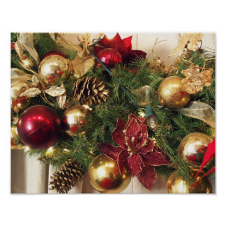 Red,Gold & Green Holiday Decorations Poster