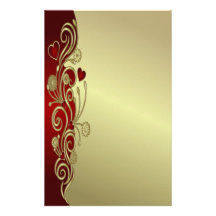 Red & Gold Hearts & Scrolls Customised Stationery