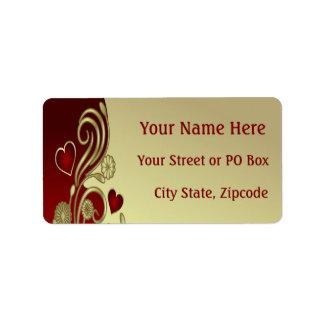 Red & Gold Hearts & Scrolls Address Label